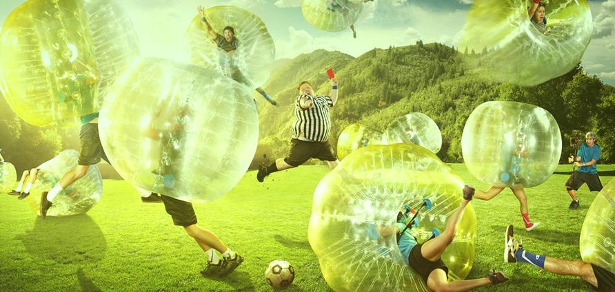 Voetballen in je eigen bubbel. Ja, letterlijk.